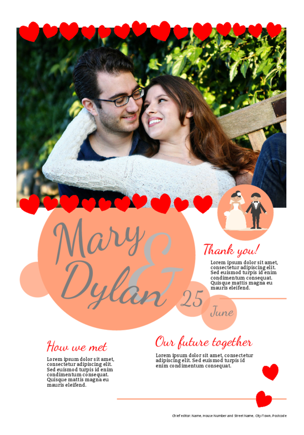 Make your own newspaper template wedding thank you   Happiedays